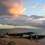 Enjoying a Sunset on Kamaole lll Beach and looking towards island of Molikini and Kahoolawe